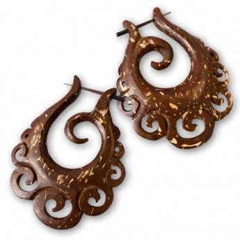 Handcarved Brown Earrings from Coconut Shell – picture 3