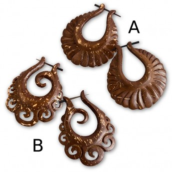 Handcarved Brown Earrings from Coconut Shell – picture 1
