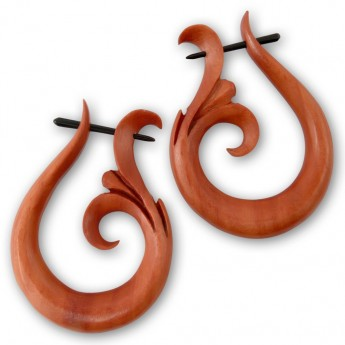 Sawo Wood Earrings - Tribal Lily with Dots – picture 3