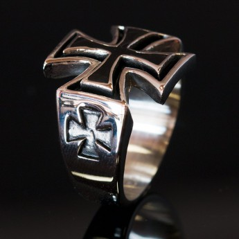 316L Stainless Steel Ring - Iron Cross / Templar / Knight Cross – picture 2
