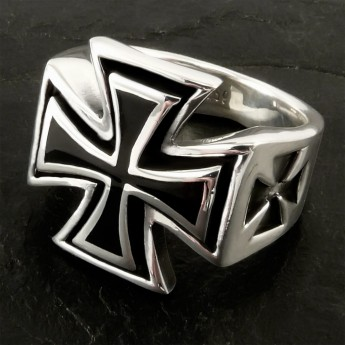 316L Stainless Steel Ring - Iron Cross / Templar / Knight Cross – picture 1