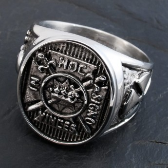 Knight´s Templar Stainless Steel Signet Ring - In Hoc Signo Vinces – picture 1