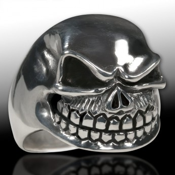 Stainless Steel Ring - Nasty and Wide Grinning Death`s Head – picture 1