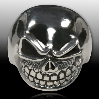 Stainless Steel Ring - Nasty and Wide Grinning Death`s Head – picture 5