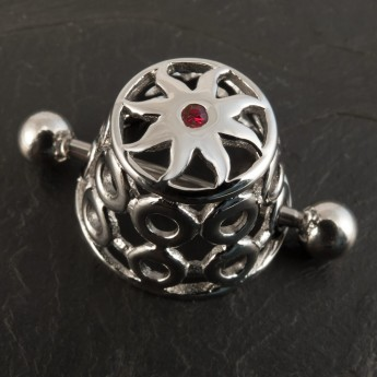"316L Surgical Steel Nipple Shield / Cage ""Tribal Sun"" with red Zircon crystal – picture 1"