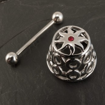 "316L Surgical Steel Nipple Shield / Cage ""Tribal Sun"" with red Zircon crystal – picture 2"