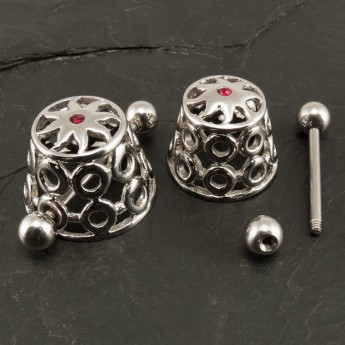 "316L Surgical Steel Nipple Shield / Cage ""Tribal Sun"" with red Zircon crystal – picture 3"