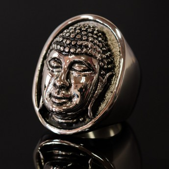 Large Stainless Steel Ring - Buddha's Head – picture 2