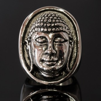 Large Stainless Steel Ring - Buddha's Head – picture 1