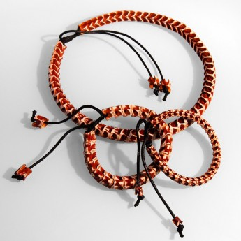 Bracelet, necklace or key chain made ​​from real snake bone in various colors and thicknesses – picture 6