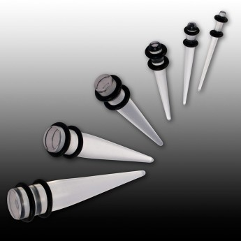 Stretcher Taper from Acrylic with Rubber Rings in White, Black or Transparent – picture 3