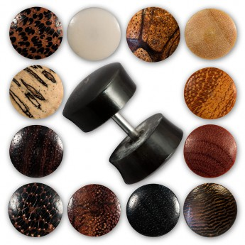 Fake Plug from buffalo horn or buffalo bone and various woods - Diameter 9mm – picture 1