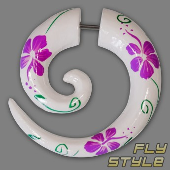 Fake Spiral Wood Expander - Hibiscus Flower – picture 3