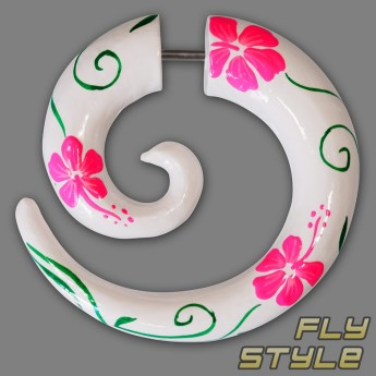 Fake Spiral Wood Expander - Hibiscus Flower – picture 5