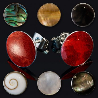 Stainless Steel Earstuds with Mother of Pearl, Coral or Shiva Eye Inlay – picture 1