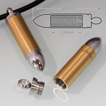 Magnum Bullet Cartridge Stainless Steel Poison Pillbox Pendant – picture 3