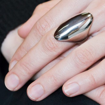 Long Oval Designer Stainless Steel Ring – picture 2