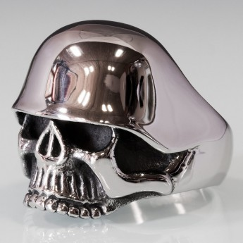 Stainless Steel Skull Ring with WW2 Helmet – picture 5