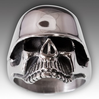 Stainless Steel Skull Ring with WW2 Helmet – picture 6
