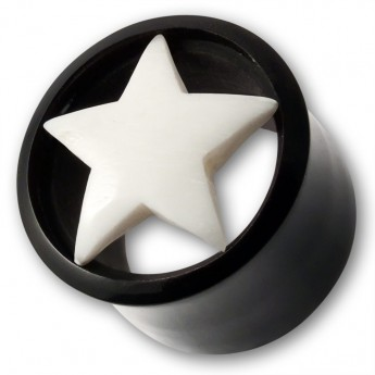 Horn Plug with Bone Inlay - White Star