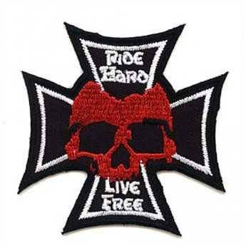 "Patch Iron Cross with Skull ""Ride Hard - Live Free"""