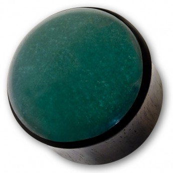 Ebony Wood Plug with green Jade Inlay