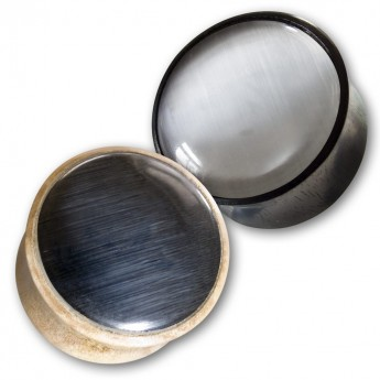 Wood or Horn Plug with black or white Cat's Eye-Inlay – picture 1