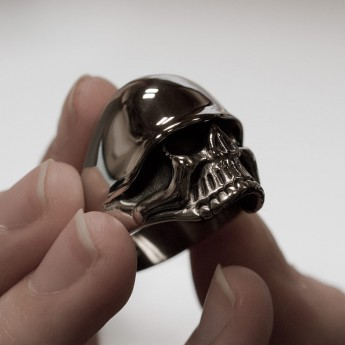 Stainless Steel Skull Ring with WW2 Helmet – picture 3