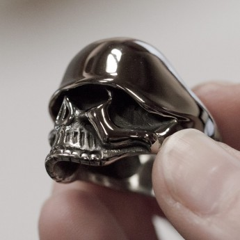 Stainless Steel Skull Ring with WW2 Helmet – picture 4