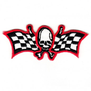 "Patch ""Skull with Checkered Flags"""