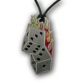 Pewter Pendant - Flaming Dice