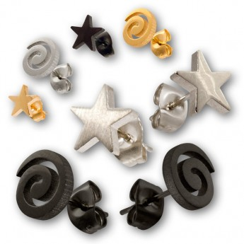 Stainless Steel Earrings - Spiral or Star – picture 1