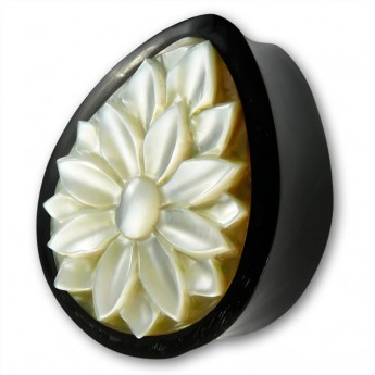 Drop-shaped Horn Ear Plug with Shell Inlay - Lotus Flower