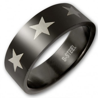 Black Surgical Steel Ring - Silver Star