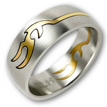 Stainless Steel Puzzle Ring - Gold Tribal