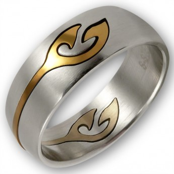 "Stainless Steel Ring with removeable gold plated Ornament ""Gold Tattoo"" – picture 1"