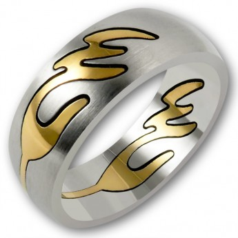 Stainless Steel Ring with removable gold plated Ornament - Gold Wave