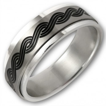 Stainless Steel Move Ring - Celtic Plait Pattern