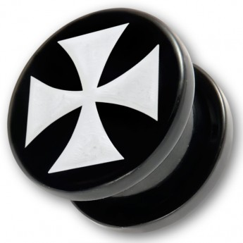 Acrylic Ear Plug - White Iron Cross