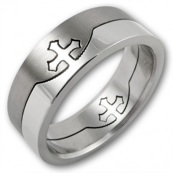 Stainless Steel Puzzle Ring - Templar Cross