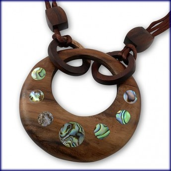 Round Wood Pendant with Glittering Pawa Shell Inlays – picture 1