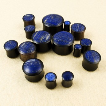 Horn / Wood Plug with Lapis Lazuli Inlay – picture 2