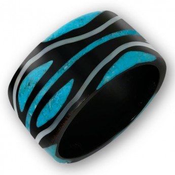 Black Horn Ring with Turquoise Tribal