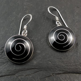 Black Silver Earrings with Spiral