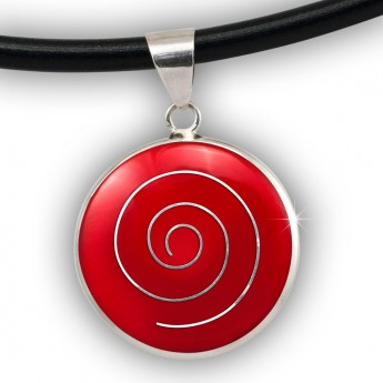 Silver Pendant with Spiral in white, black, red or green – picture 3