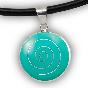 Silver Pendant with Spiral in white, black, red or green – picture 5