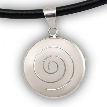 Silver Pendant with Spiral in white, black, red or green – picture 4