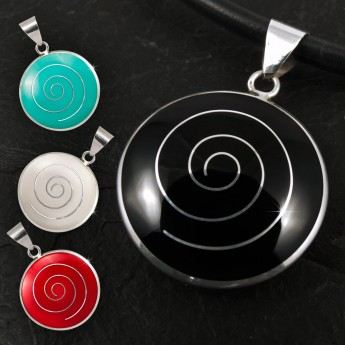 Silver Pendant with Spiral in white, black, red or green – picture 1