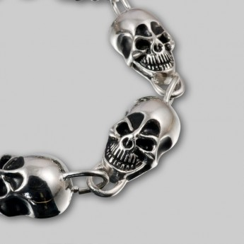 Stainless Steel Bracelet - Wide Grinning Death Heads – picture 1