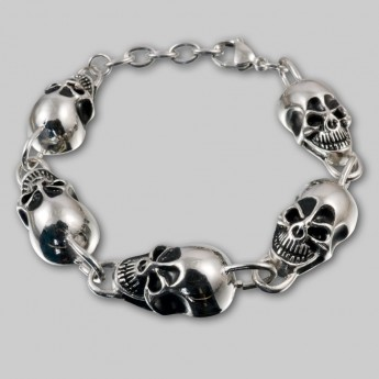 Stainless Steel Bracelet - Wide Grinning Death Heads – picture 2